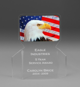 "7"" tall x 6"" wide x 3/16"" thick acylic - Eagle Flag -"