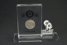 "Acrylic Coin Embedment  6 "" x 4 1/2 "" x 1 """