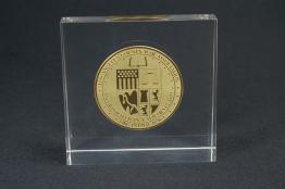 "Acrylic Coin Embedment  4 "" x 4 "" x 1 1/4 """