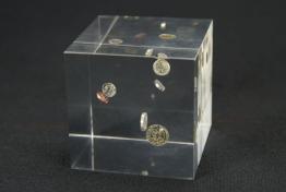 "Acrylic Coin Embedment  3 "" x 3 "" x 3 """