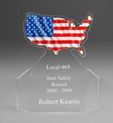 "7"" tall x 6"" wide x 3/16"" thick acylic - USA Flag -"