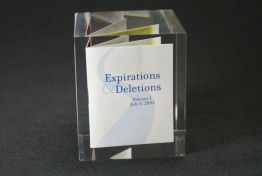 "Prospectus Book Lucite Embedment 3 "" x 3 "" x 3"